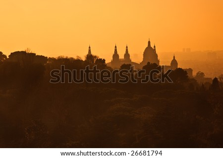 View over museum in Barcelona, Spain - stock photo