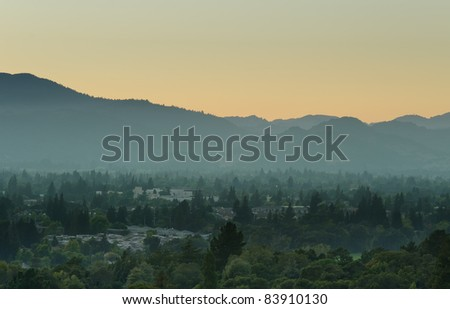 View over Napa Valley during sunset - stock photo