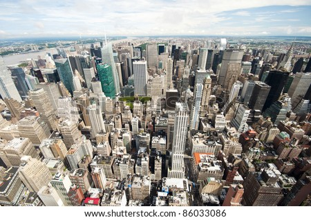 view over New York city from Empire State building - stock photo