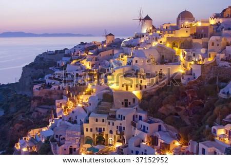 View over Oia at dusk, island Santorini, Greece - stock photo