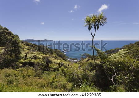 View over Pacific Ocean, New Zealand - stock photo