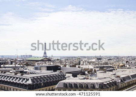 View over Paris From The Galeries Lafayette Roof Top. France