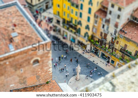 View over Piazza delle Erbe (Market's square), Verona, Italy. Tilt-shift effect applied - stock photo