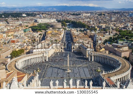 View over Piazza San Pietro, Vatican City. With a general view of Rome.