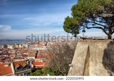 View over picturesque city of Lisbon in Portugal. - stock photo
