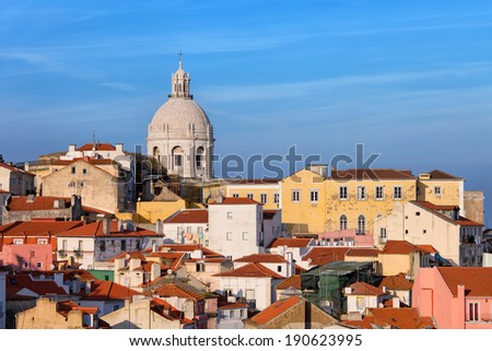 View over picturesque houses of the Alfama District in Lisbon, Portugal. - stock photo