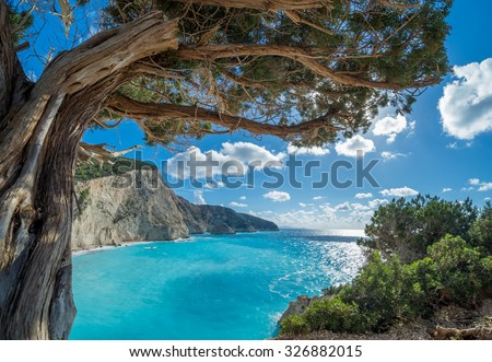 View over Porto Katsiki beach in Lefkas island Greece - stock photo