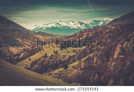View over Pyrenees mountains - stock photo