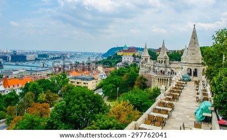View over restaurant on the top of halszbastya - fishermans bastion in hungarian capital budapest. - stock photo