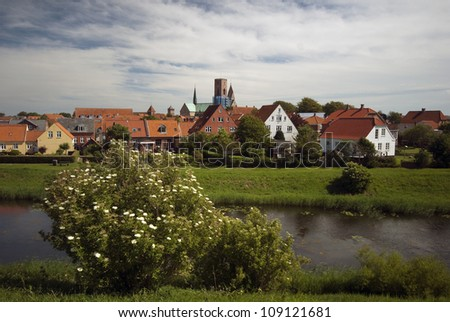 View over Ribe in Denmark from ruined castle hill close to town. - stock photo