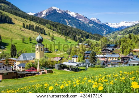 View over Saalbach village in summer, Austria