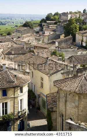 View over Saint Emilion, Gironde, France - stock photo