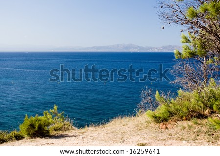 View over Sea land on foreground - stock photo