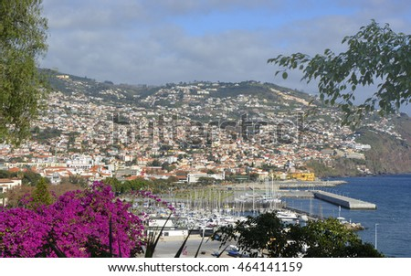 View over seafront, marina and harbour from Saint Catherine's Park. Funchal, Madeira, Portugal