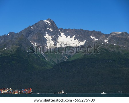 View over Seward harbour with mountains in Alaska, USA