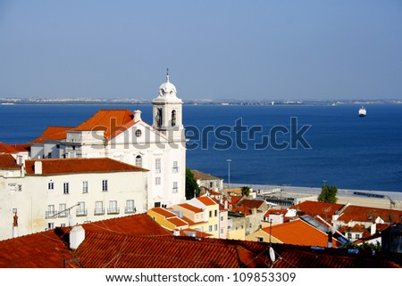 View over some typical Lisbon buildings. - stock photo