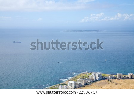 View over Table Bay, with Robben Island in the distance (Cape Town, South Africa) - stock photo