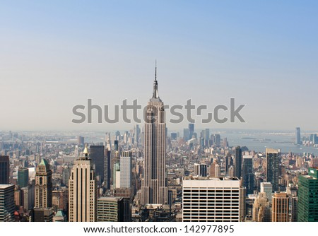 View over the amazing skyscrapers of Manhattan, New York City during daytime - stock photo