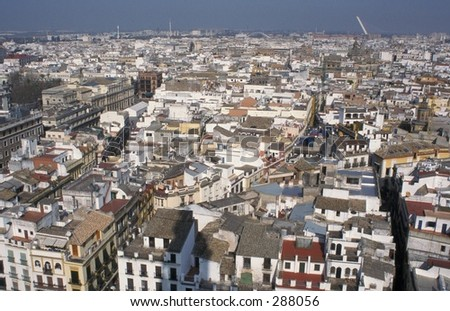 View over the Bario from the Giralda, Seville Andalucia Spain