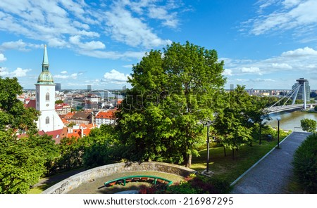 View over the Bratislava City and Danube River from the castle (Slovakia) - stock photo