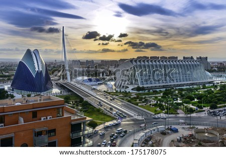 View over the City of Arts and Science and Oceanografic Centre Valencia Spain
