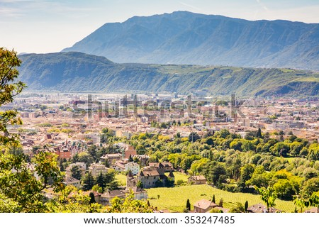 View over the city of Bolzano (Sout Tyrol, Italy) - stock photo