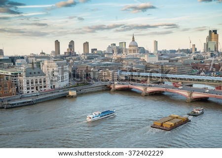 VIEW OVER THE CITY OF LONDON AND RIVER THAMES FROM THE OXO TOWER WITH ST PAULS CATHEDRAL IN THE BACKGROUND - stock photo
