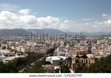 View over the city of Malaga, Andalusia Spain
