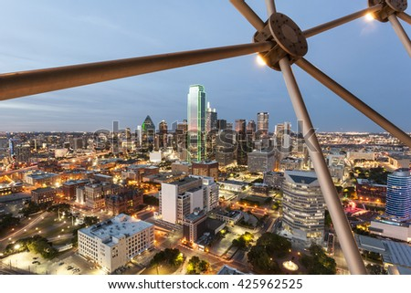 View over the Dallas downtown district illuminated at night. Texas, United States