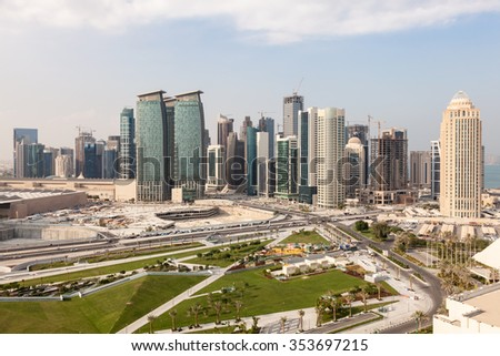 View over the Doha downtown Diplomatic Area. Qatar, Middle East