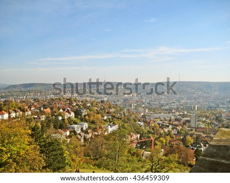 "View over the german city stuttgart with city landmark tv tower called ""Fernsehturm"" at horizon"