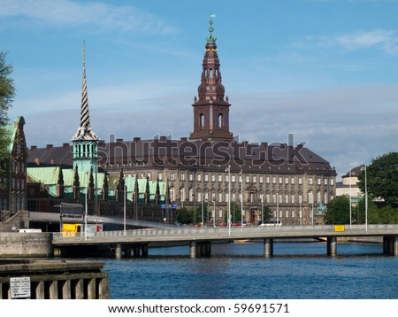 View over the inner harbor of Copenhagen towards Christiansborg Palace - stock photo