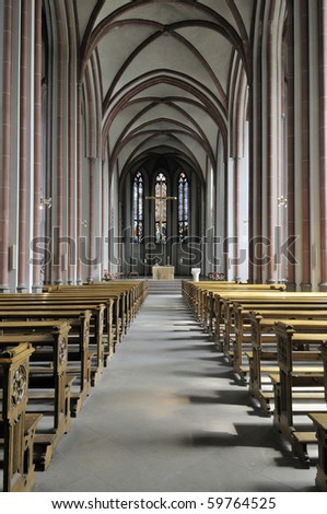 View over the inside of german church seen from the back of the church - stock photo