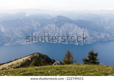 View over the Lake Garda, Lago di Garda, from the Monte Baldo, Italy. - stock photo