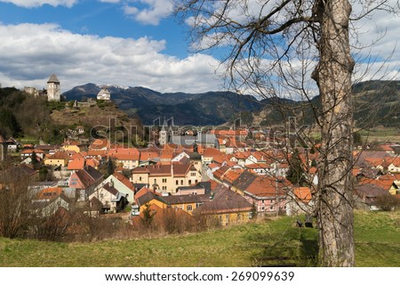 View over the medieval oldtown of Friesach, the oldest town of Carinthia in Austria - stock photo
