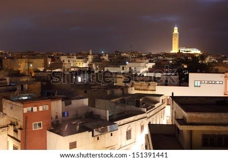 View over the medina at night. Casablanca, Morocco - stock photo