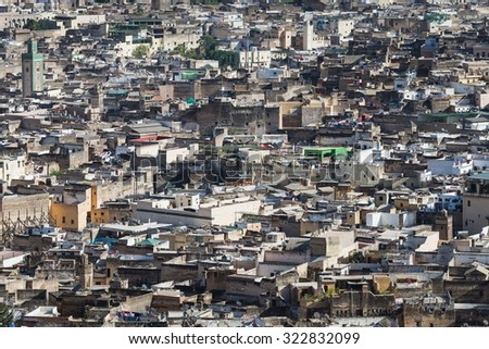 view over the medina of fes - stock photo