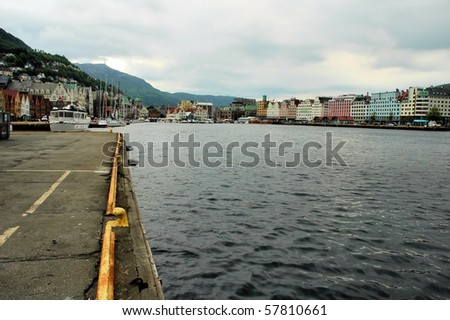 View over the port of Bergen at Norway - stock photo