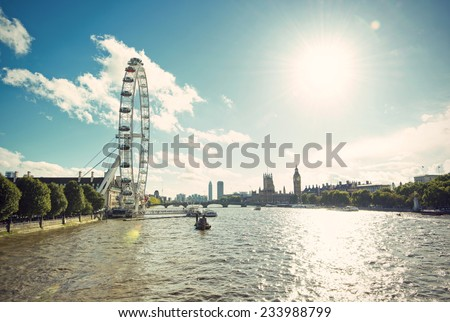 View over the river Thames with Westminster Bridge, Elizabeth Tower (Big Ben Clock Tower) and Houses of Parliament, vintage style, London, United Kingdom, Europe - stock photo