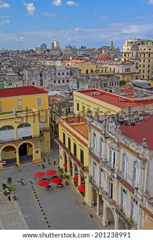 View over the roofs of buildings of the capital of Cuba from the observation deck of the hotel - stock photo