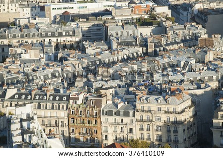 view over the roofs of Paris, France, Europe - stock photo