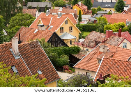 View over the roofs of the northern part of Visby, the famous old town on the island Gotland, Sweden.