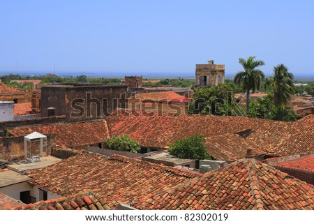 View over the roofs of Trinidadd - stock photo