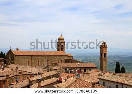 View over the rooftops of Montalcino, Tuscany, Italy