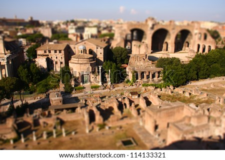 view over the ruins of the Roman Forum, Rome, Italy - tilt shift - stock photo