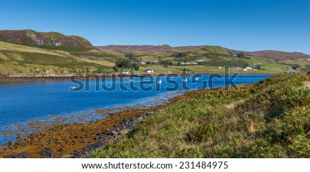 View over the shore of Loch Harport, Isle of Skye, Scotland - stock photo