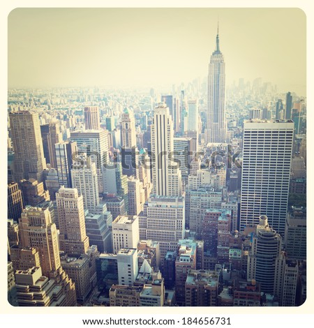 View over the skyscrapers of Manhattan, New York with Instagram effect filter - stock photo