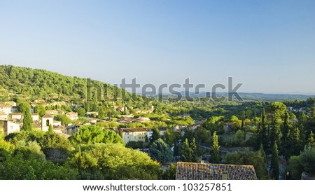 View over the south-French small town Cotignac - stock photo