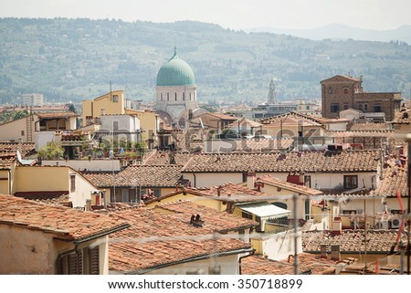 View over the terracotta tiled rooftops of Florence