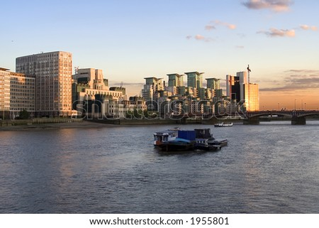 View over the Thames Showing Vaxhall Bridge , Boats and Office Buildings